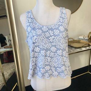 Topshop Baby Blue Floral Crochet Crop Top